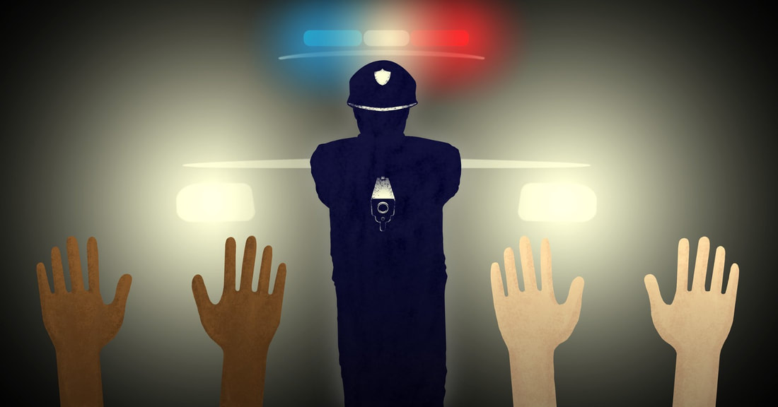 An illustration of a police officer standing in front of a police car pointing a gun at two sets of hands, one with white skin and one with brown skin.